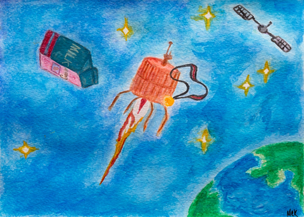 Watercolour image of objects in outer space- a milk carton, twinkling stars, a satellite and a gold medal, illustrating a short story serial