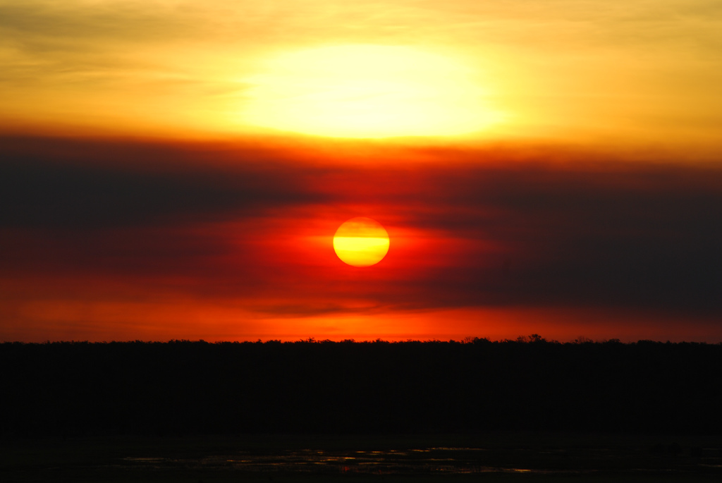 Image of setting sun in similar style to the Aboriginal Flag, accompanying a piece on Australia Day