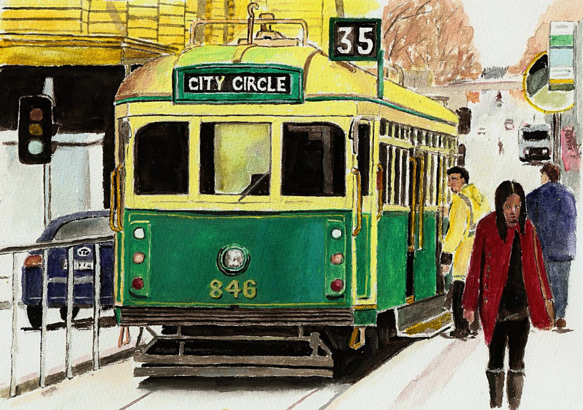 water colour Image of a tram for story set on a tram journey where a man grapples with the prison of mental illness