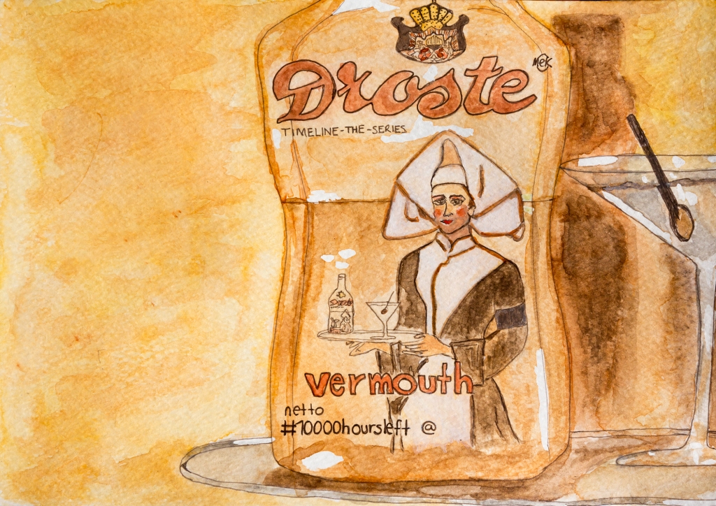 watercolour of a vermouth bottle, in the style of droste cacoa, beside a martini, painted in sepia tones, illustrating a story in which the 'droste effect' is alluded to