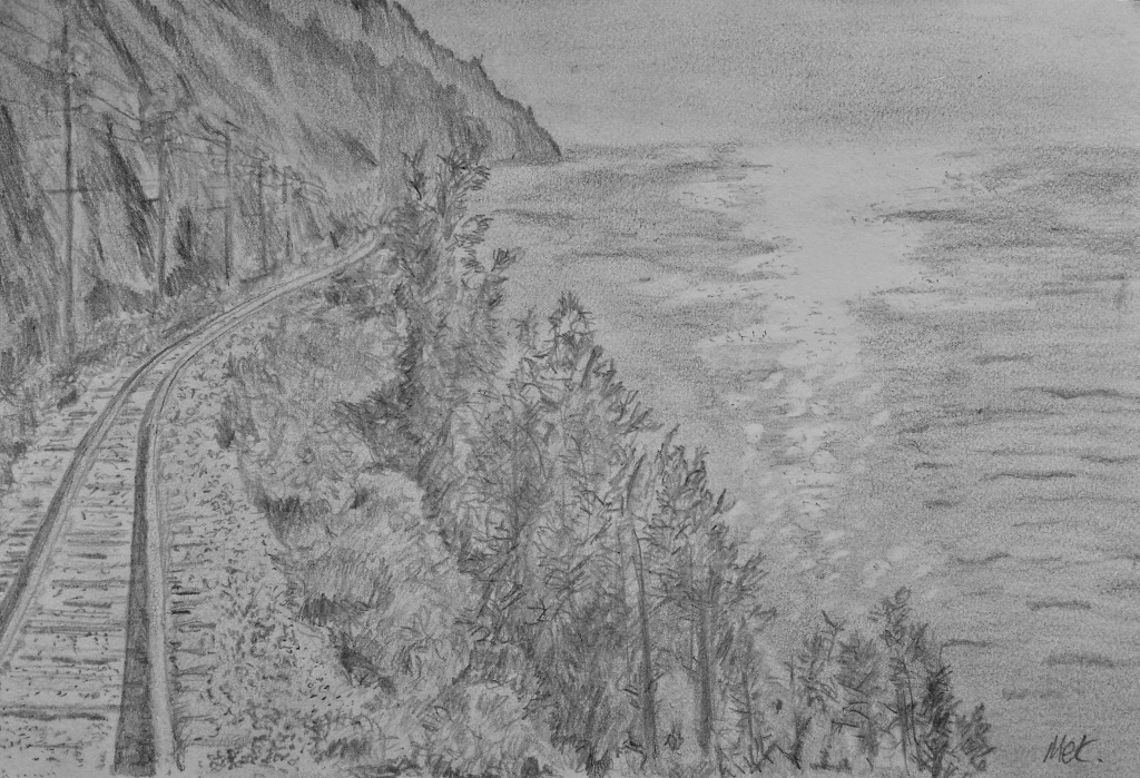 sketch of train tracks winding along a coastal scenery to illustrate a story set on a transiberian train trip
