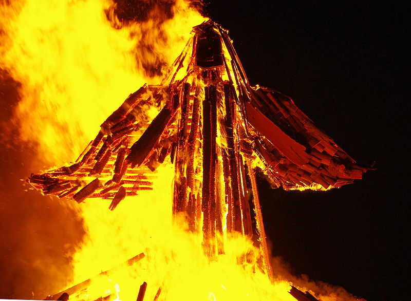 Image of a burning effigy used as a prompt for a flash fiction / microfiction story