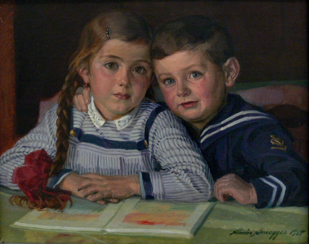 Painting of siblings used as microfiction prompt