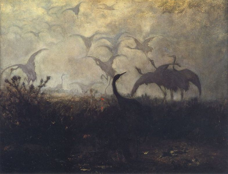 painting of cranes, by Józef Marian Chełmoński used as microfiction prompt