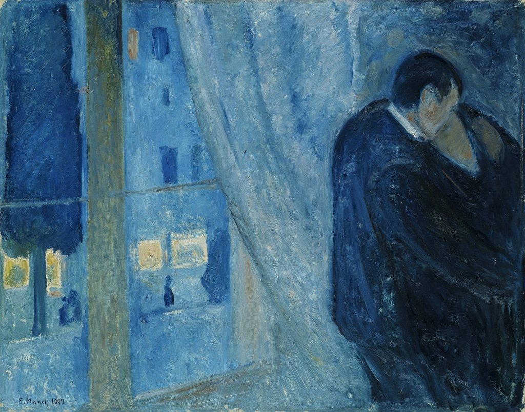 Image of Edvard Munch painting 'kiss by the window' used as prompt for microfiction writing challenge