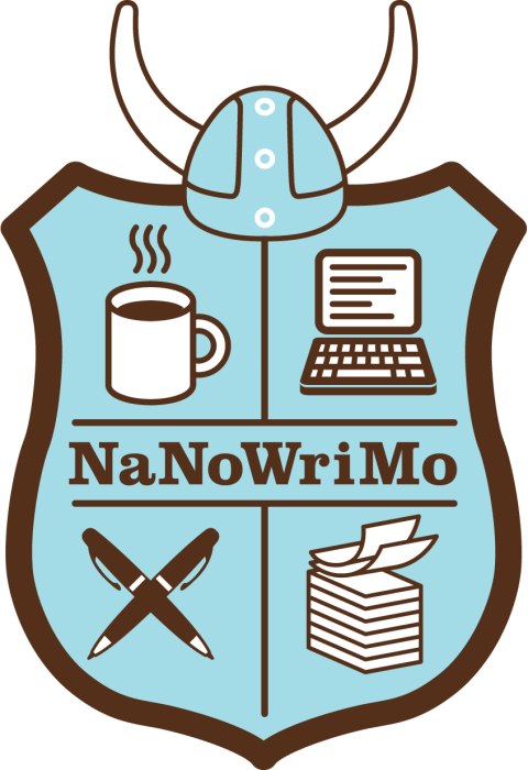 NaNoWriMo shield logo for writing goal with november natinal novel writing month 2016