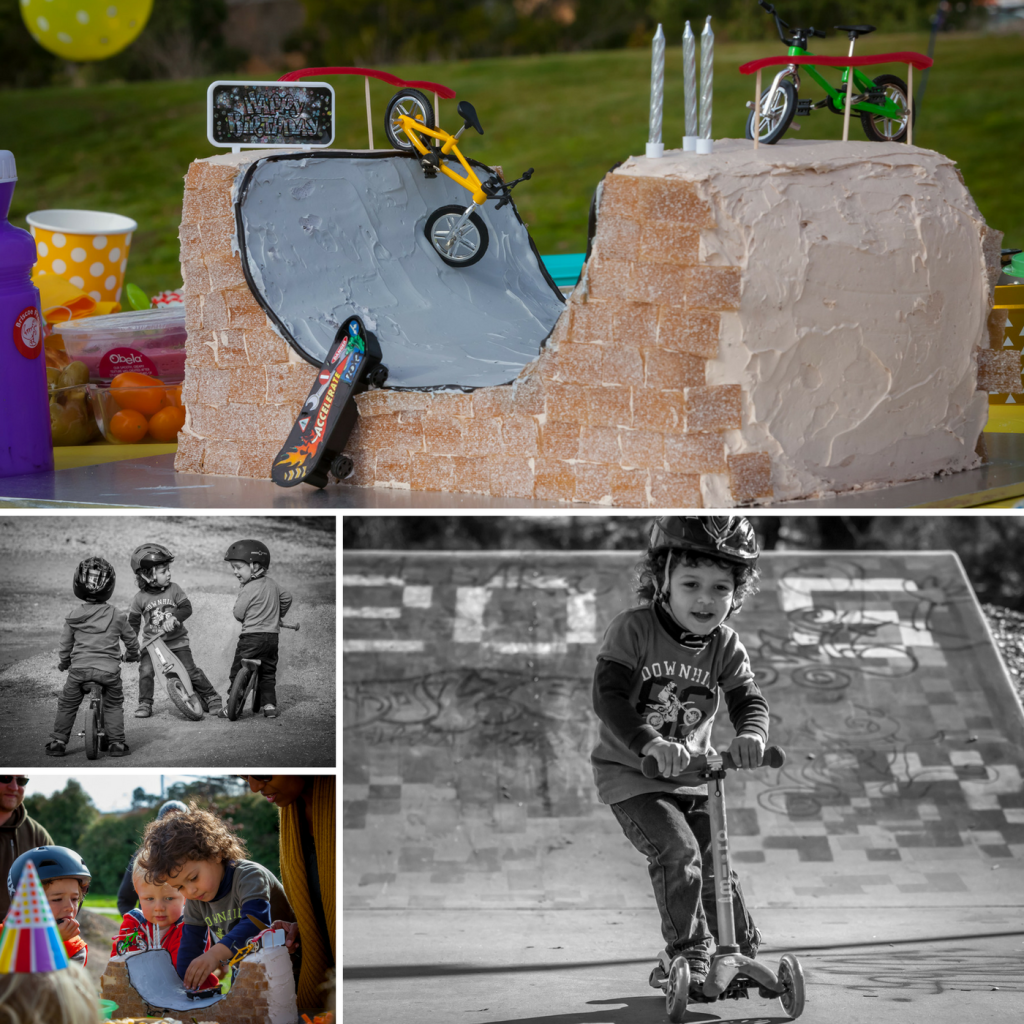 Photos of three year old birthday party at skate park. Half pipe cake, and kids on bikes and scooters.