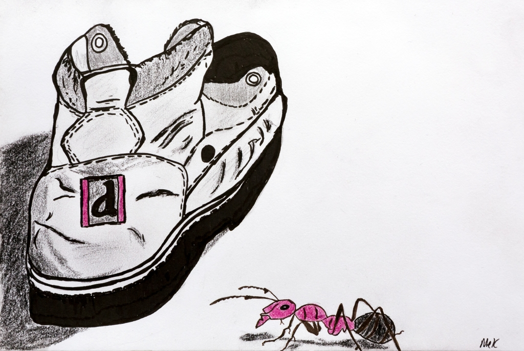 Sketch of boots and ant to illustrate a microfiction story