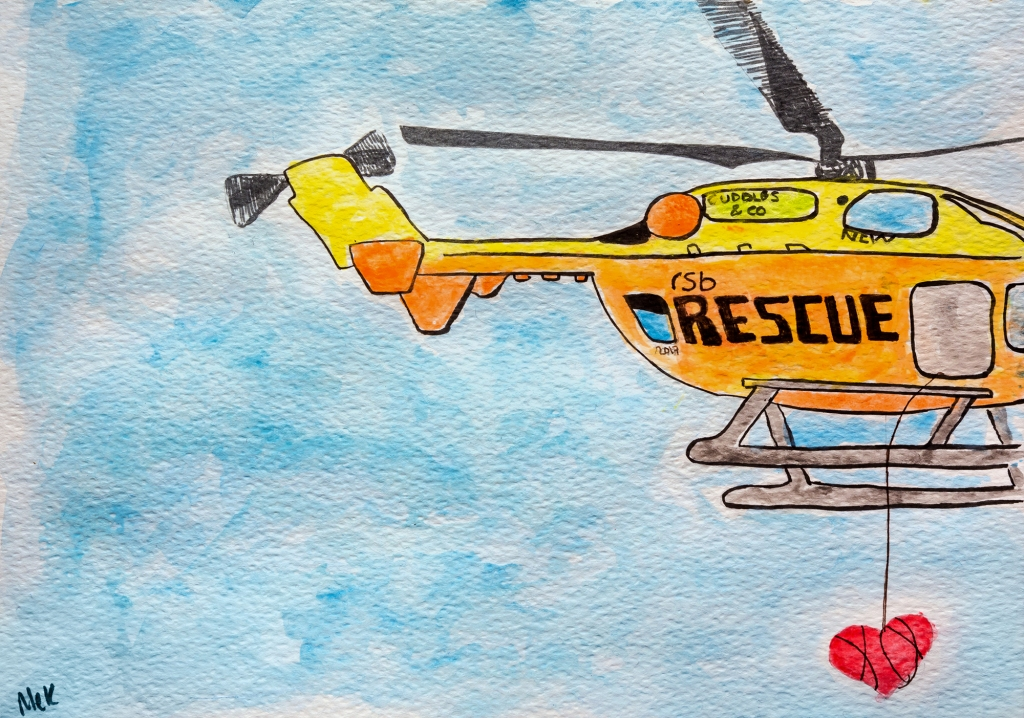 Watercolour and ink illustration of a helicopter rescuing a heart. Used to illustrate a haibun on parenting.