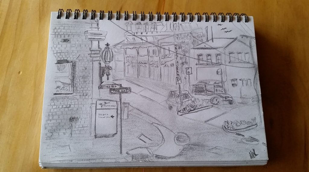 Sketch of a streetscape showing buildings and parked cars