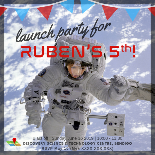 5th birthday party invitation featuring boy in astronaut space suit floating in space with party details